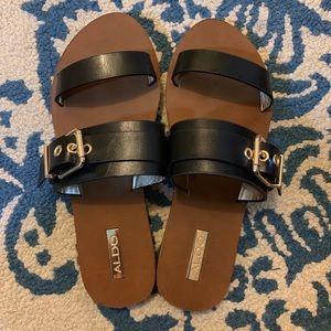 ALDO Gold Buckle Flat Black Sandals